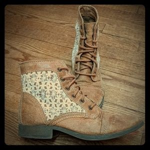 Tan boots with lace detail